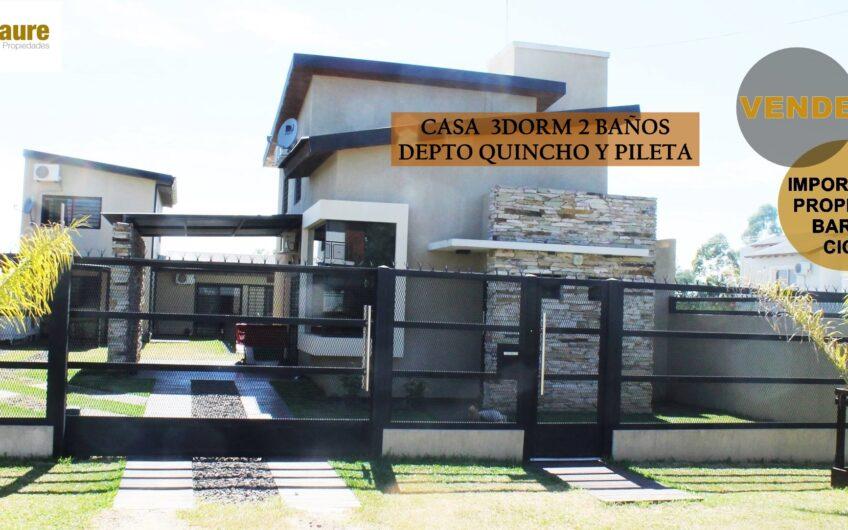 CASA CON DEPARTAMENTO QUINCHO Y PILETA.